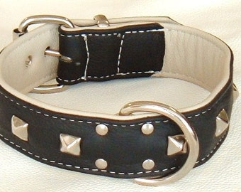 Black on Cream leather studded dog collar with White Stitching