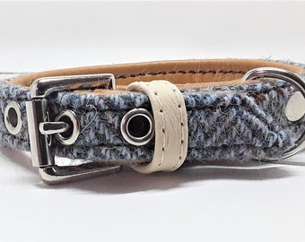 Genuine Blue Harris tweed and Tan leather dog collar with Nickle plate hardware for small dogs