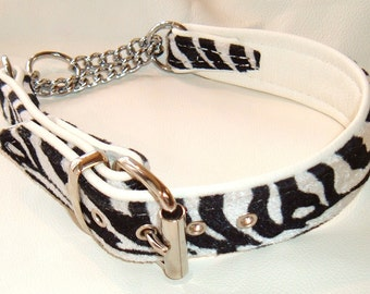 Zebra print fabric and White leather Martingale dog collar