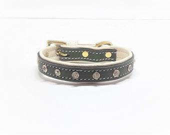 Green on cream leather dog collar with diamante's & Solid Brass hardware for small dogs