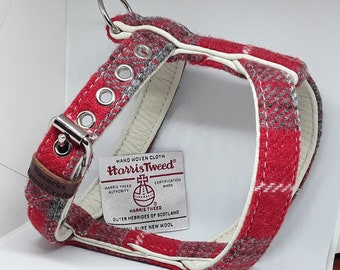 Genuine Red & Grey Harris Tweed on Cream leather dog harness