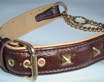 Brown on cream studded leather Martingale dog collar with solid brass hardware & free embossing