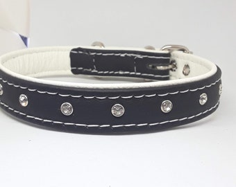 Black on White leather dog collar with Diamantes