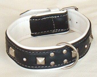 Black on White leather studded dog collar with diamantes and white stitching