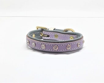 Lavender on Green leather dog collar with Diamante's & Solid Brass hardware for small dogs