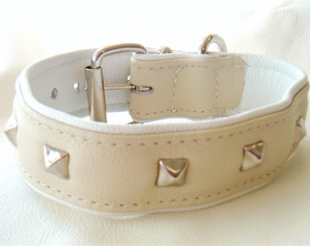 Cream on White leather dog collar with studs