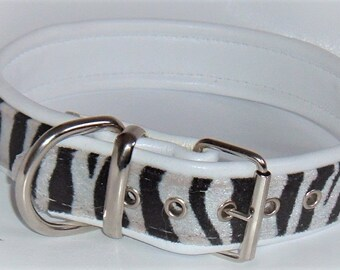 Zebra print faux fur fabric and white leather dog collar