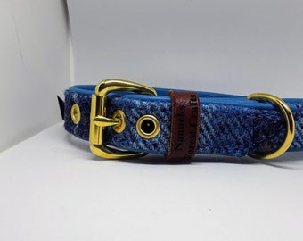 Genuine Blue Harris tweed and Blue leather dog collar with solid brass hardware