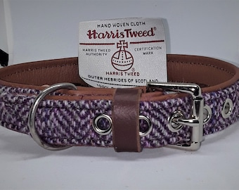 Genuine Pale Pink, Purple and Blue Harris tweed on Tan leather dog collar with nickel plated stainless steel hardware..