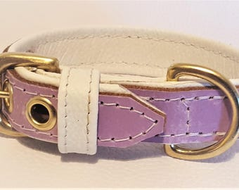 Lavender on white leather dog collar with solid brass hardware and white stitching.
