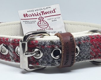 Genuine Red and Grey Harris Tweed on Cream leather dog collar with nickel plated stainless steel hardware.