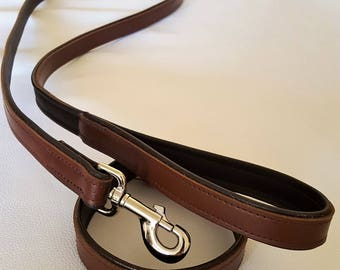 Tan and Brown leather dog collar with Matching Lead Set