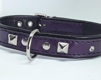 Purple on Black leather studded dog collar with Diamantes and Black Stitching
