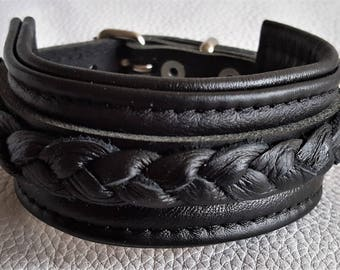 Hand Crafted Unisex All Black Leather Wrist Cuff with Leather Braiding and buckle fastening