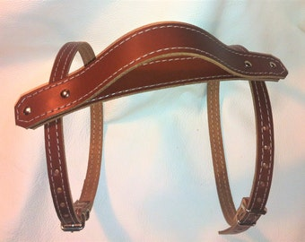 Tan leather Vintage style picnic blanket strap with carry handle