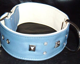 Pale Blue on cream leather studded dog collar with diamantes and cream Stitching
