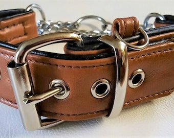 Tan Brown on Black leather Martingale dog collar with ID tag loop