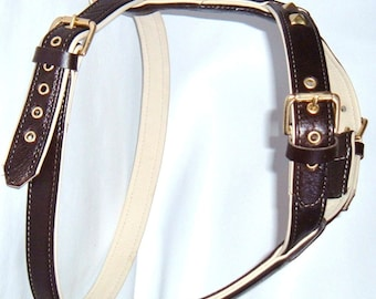 Dark Brown on Cream leather dog harness with brass hardware