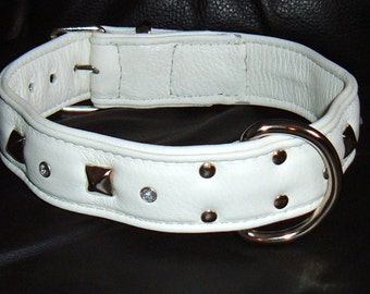 All White leather studded dog collar with diamantes