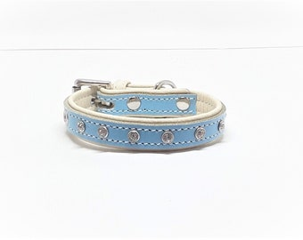 Baby Blue on Cream leather dog collar with  Diamante's for small dogs