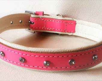Pink on White leather dog collar with Diamantes and White Stitching