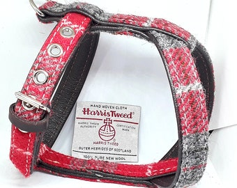 Genuine Red & Grey Harris Tweed on Brown leather dog harness