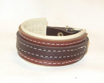 Hand Crafted Unisex Brown, Tan and Cream Leather Wrist Cuff with White stitching