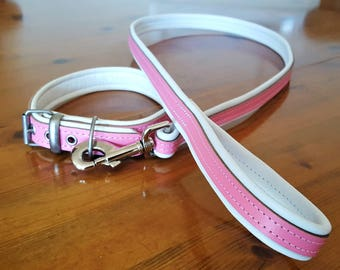 Pink and White leather dog collar with White Stitching and Matching Lead Set