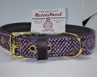 Genuine Pink and Purple Harris tweed and brown leather dog collar with solid brass hardware