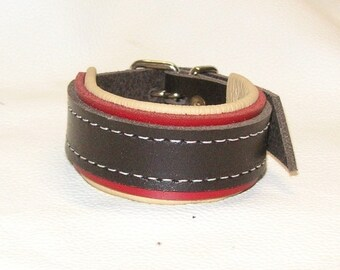 Hand Crafted Unisex Brown, Red and Cream Leather Wrist Cuff with White stitching