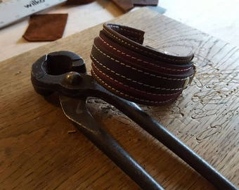 Hand Crafted Unisex Brown and Plum Leather Wrist Cuff with white stitching