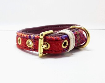Genuine Orange & Purple Harris tweed and Brown leather dog collar with Solid Brass hardware for small dogs