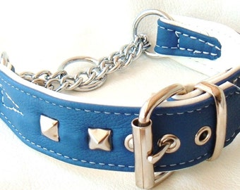 Blue and White leather Martingale dog collar with studs with White Stitching