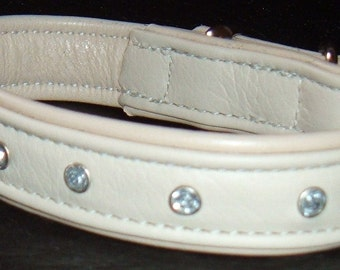 White on Cream leather dog collar with Diamantes