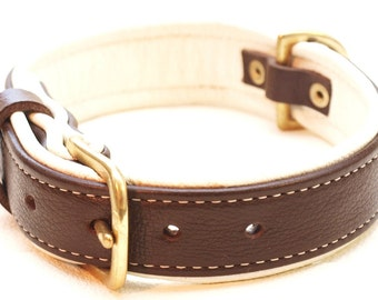 Dark Brown and Cream leather dog collar with solid brass hardware and cream stitching.