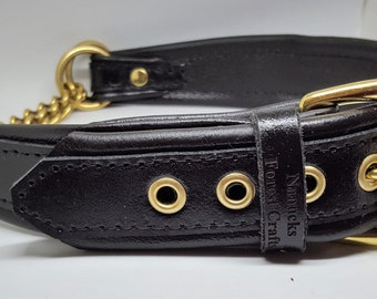 Black on Black leather Martingale dog collar with solid brass hardware & free embossing