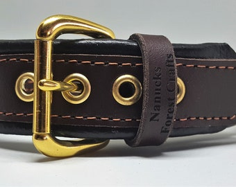 Brown on Black leather Martingale dog collar with solid brass hardware & free embossing