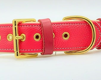 Red on Cream leather dog collar with solid brass hardware and Cream stitching