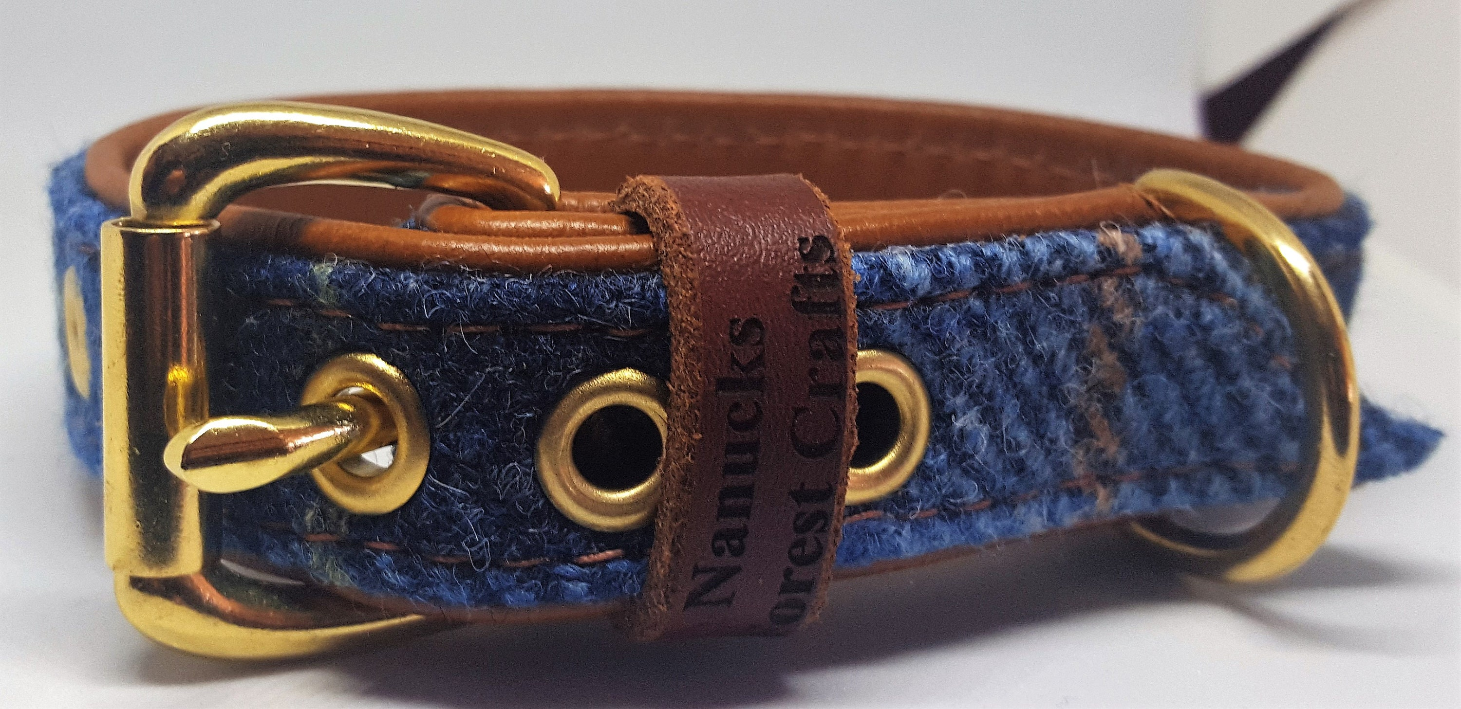4f47fbb9ef00 Genuine Blue Harris tweed and Tan leather dog collar with solid brass  hardware
