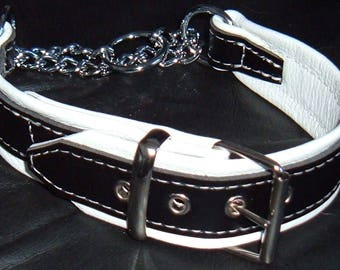 Black on White leather Martingale dog collar