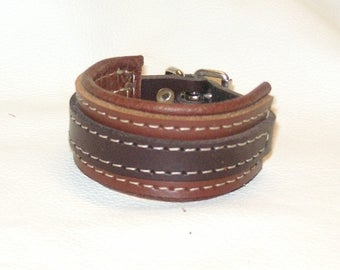 Hand Crafted Unisex Brown on Tan Leather Wrist Cuff with White stitching