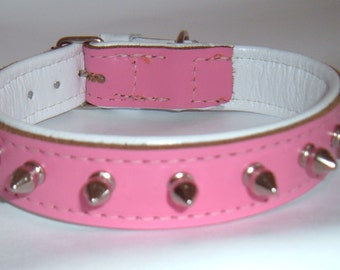 Pink and White leather spiked dog collar with White Stitching