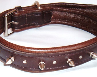 Brown leather spiked dog collar with studs