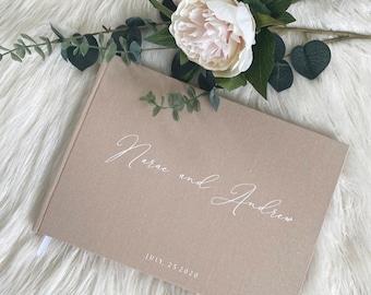 D5 - Mr & Mrs Cursive Luxe Linen Wedding Guest Book / Custom Scrapbook / Luxe Gold Foiled Design/ A4 Engagement Book Made to Order