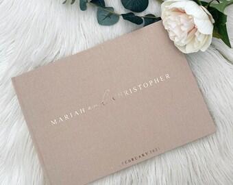 D7 - Luxe Linen Hard Cover Custom Initials Wedding Guest Book / Custom Scrapbook / Luxe Gold Foiled Design/ A4 Engagement Book Made to Order