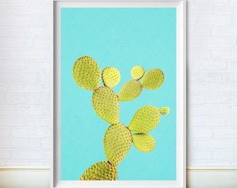 Blue Cactus Print, SouthWest Decor, Mexican Wall Art, Desert Plant, Mexico, Digital Download, Printable Poster
