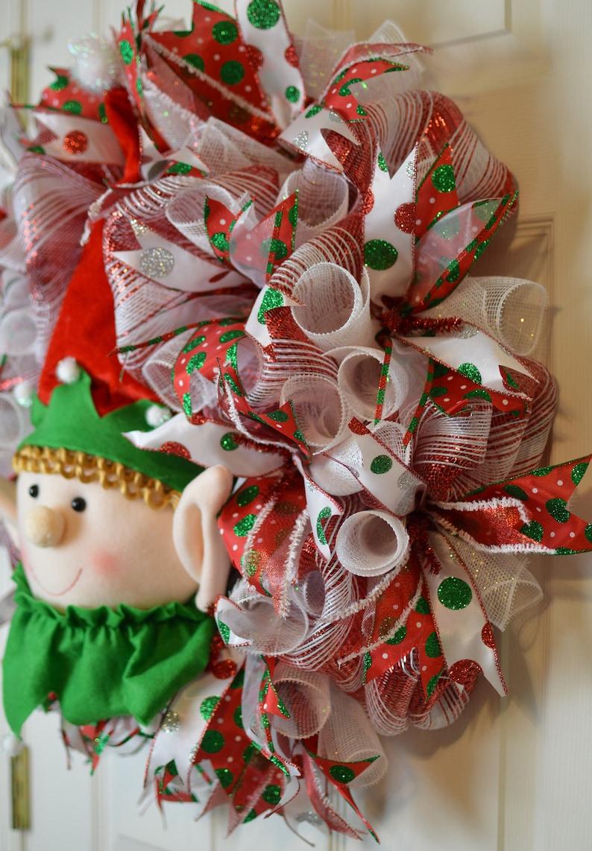 Elf Tree Topper Christmas Mesh Wreath Elf Mesh Wreath for front door Christmas  Wreath Holiday Christmas Mesh Wreath,Christmas Decor