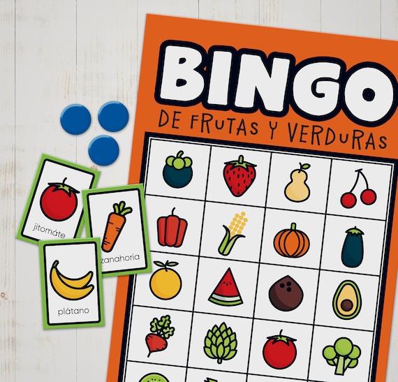 Juego De Loteria Para Aprender Los Nombres De Frutas Y Verduras En Español Para Niños Imprimé Corta Y Juega Bingo Mexicano En Español