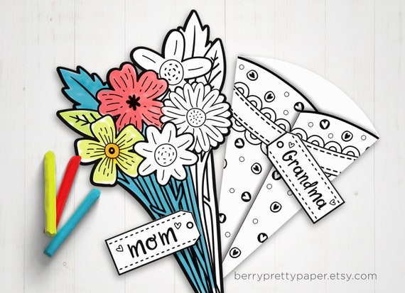 Printable Mothers day coloring card  Bouquet card for Mom