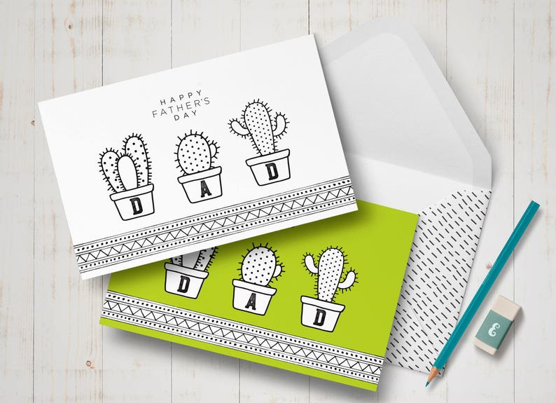 image relating to Printable Fathers Day Cards to Color referred to as Printable Fathers working day card, Coloring cactus card for father - Fathers working day present towards son - Fathers working day in opposition to daughter, Father card coloring webpages